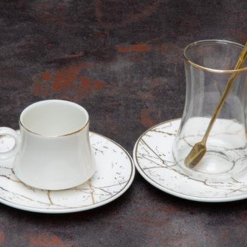 Set expresso thé MARMER Gold -Blanc- 24 pcs
