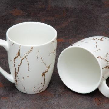 Mug à café Duo – Blanc effet marbré