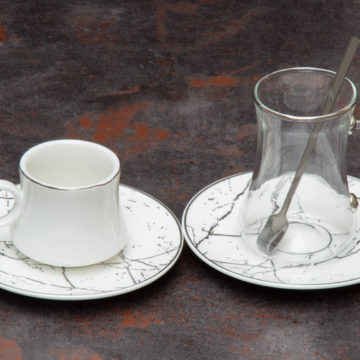 Set expresso thé MARMER Silver -Blanc- 24 pcs
