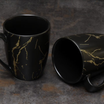 Mug à café Duo – Noir effet marbré