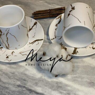 Set tasse à café Marbré -12 pcs