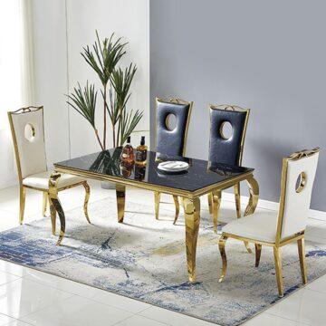 Table Baroque – Marbre Blanc Chromé