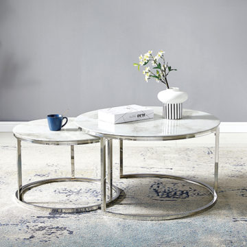 Table Basse GIGOGNE – Marbre Blanc Chrome