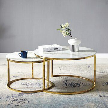 Table Basse GIGOGNE – Marbre Blanc Gold