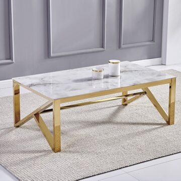 Table Basse MAJESTIC – Marbre Blanc Chrome