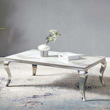 Table Basse Baroque – Marbre Blanc Chrome