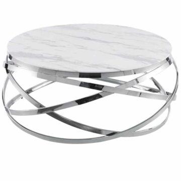 Table Basse MILO – Marbre Blanc Chrome