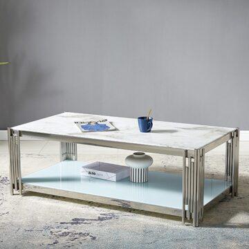 Table Basse ROMEO – Marbre Blanc Chrome